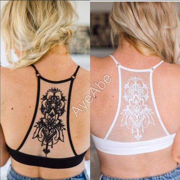 fc4ed0ae4633f Plus size sheer mesh tattoo bralette Black. Boutique